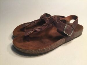 90b3cd77ba6fd Image is loading A-Giannetti-Brown-Braided-Leather-Thong-Sandals-Size-