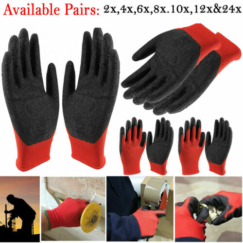 1//2//24 PAIRS NYLON PU COATED SAFETY WORK GLOVES GARDENING BUILDERS MECHANIC GRIP