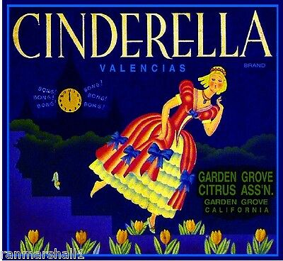 Garden Grove Cinderella #1 Fairy Tale Orange Citrus Fruit Crate Label Art Print