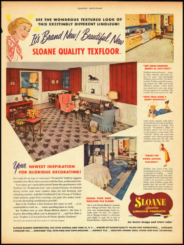 1950 Vintage ad for Sloane Linoleum Products 073012
