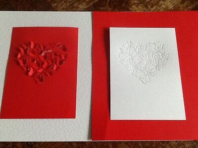 8 x A6 die cut card with Butterfly Heart design FREE UK POSTAGE