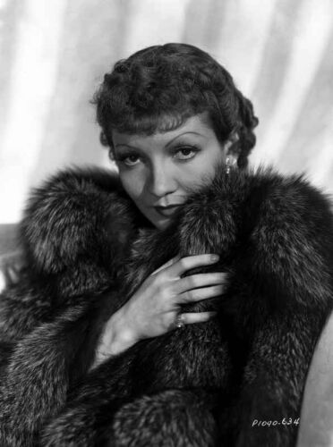 Claudette Colbert in Fur Dress with White Background High Quality Photo