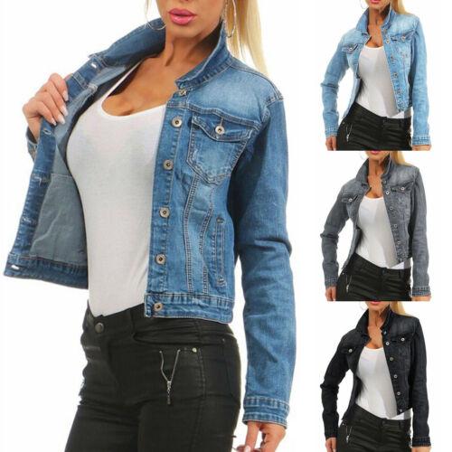Womens Denim Jacket Long Sleeve Lady Pocket Jean Button Down Coat Top Plus Size