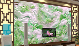 3D  Lotus Emerald  75 Wall Paper Murals Wall Print Wall Wallpaper Mural AU Lemon