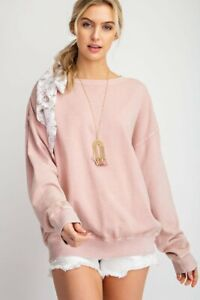 Easel-Faded-Coral-Mineral-Washed-Long-Sleeve-Top