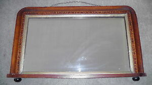 "Vintage Early Century Wood Inlaid Wall Mirror 29"" x 17"""