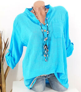 Bluse Tunika Longbluse Streifen Fischerhemd Leinen Optik aqua blau 42 44 46 48