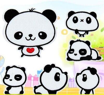 FD1320 6 Styles Pandas Embroidery Cloth Iron On Patch Sew Motif Applique ~6PCs~