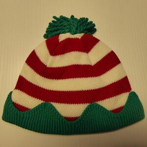 2df3a1c28e49c Gymboree Elf Red White Green Striped Pom Pom Hat NWT New Boy Girl ...