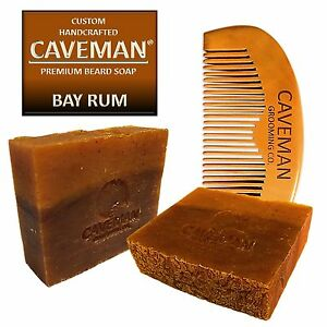 Handcrafted-Caveman-Bay-Rum-Beard-Oil-Beard-Wash-Shampoo-Custom-Soap-FREE-Comb