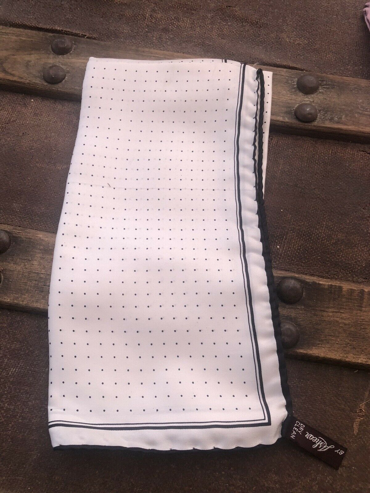 Unisex 100% Silk Italy Pocket Square White black PolkaDot Handkerchief 18x18 s-9