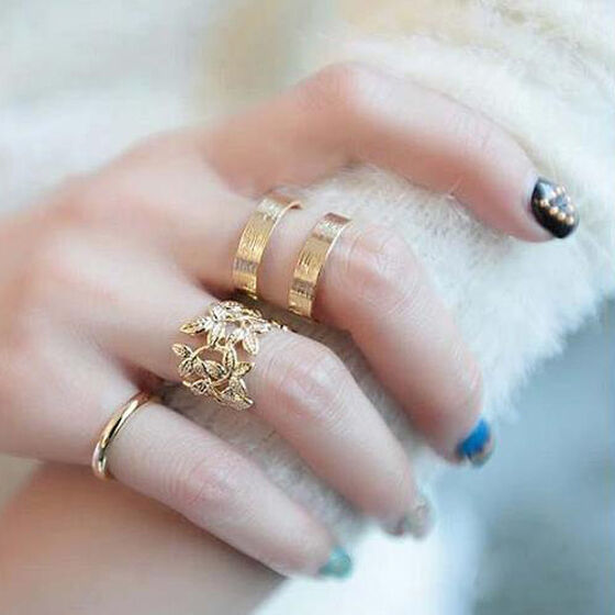 New Fashion Women's Lady Metal Gold Silver Plated Leaf Knuckle Finger Ring Set