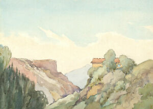 Mid-20th-Century-Watercolour-Mediterranean-Mountain-Top