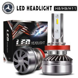 2Pcs H8 H9 H11 LED Headlight High or Low Beam Bulbs 60W 24000LM 6000K White