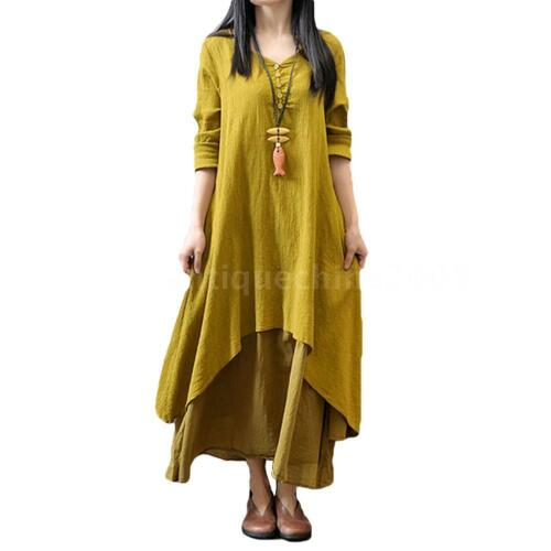 Womens Cotton Linen A-line Loose Solid Long Sleeve Retro Shirt Tunic Dress H4X5