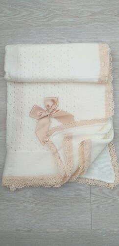 BABY BOYS GIRLS ROMANY SPANISH KNIT BLANKET SHAWL CHRISTENING LACE WHITE CAMEL.