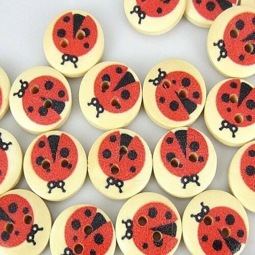 "20 LADYBUG 2-hole Wood Buttons 5//8/"" 15mm Scrapbook Craft 1446"