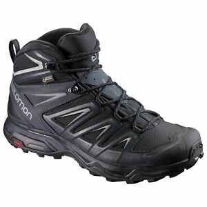 Salomon-X-Ultra-3-Mid-GTX-Gore-Tex-398674-Schwarz-Grau-Herren-Wanderschuhe-Schuhe