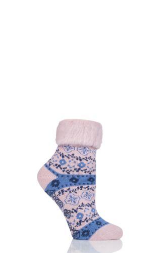 Ladies 1 Pair Elle Patterned Brushed Inside Slipper Socks