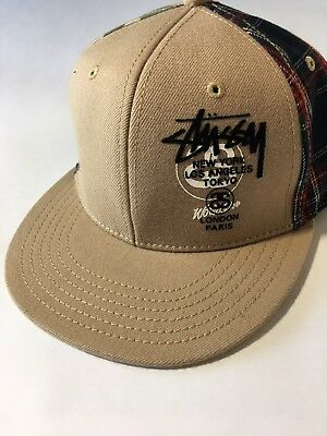 STUSSY Headgear LOGO Camo Plaid Snapback Adjustable Baseball Hat ONE SIZE