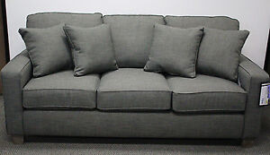 Details about Best Furniture 3 Seat Fabric Sofa w/ Accent Pillows