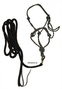 Premium Set für die Bodenarbeit Pferde Knotenhalfter & Strick blau oder schwarz