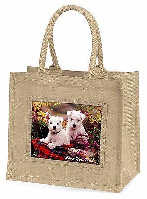 Westhochland Hunde 'Dad' Große Natürliche Jute-einkaufstasche Weihnachten G,