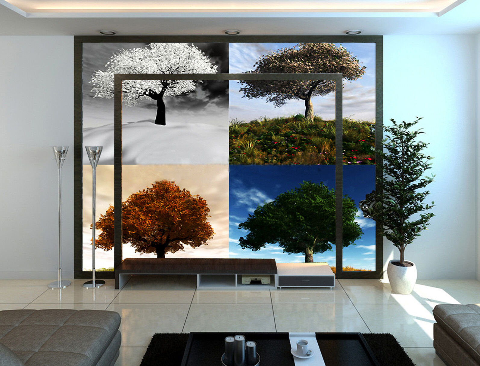 3D Four Seasons Tree Paper Wall Print Wall Decal Wall Deco Indoor Murals