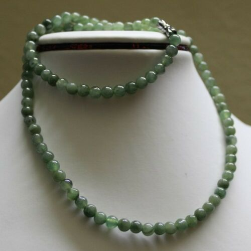 """100/% Natural Untreated Grade /""""A/"""" Beautiful Green Jadeite Bead Necklace 5.6mm 20/"""""""