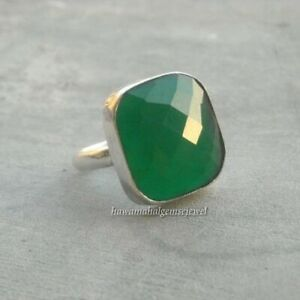 Solid-925-Sterling-Silver-Green-Onyx-Gemstone-Ring-Jewelry-All-US-SIZE