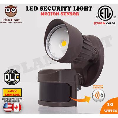 10 Watt Bronze 1 Head Motion Sensor Activated ETL DLC LED Outdoor Security Light
