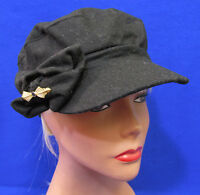 Womens Hat Cap August Accessories Black Conductor Scrunchy Bow Goldtone Pin