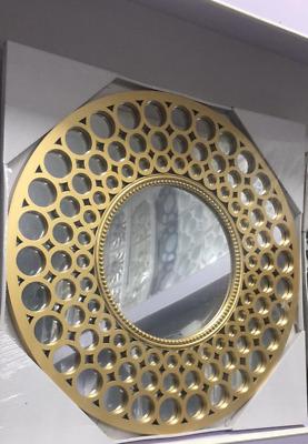 Large Gold Round Mirror Beaded Art Deco Style Metallic Round Gold Mirror Ebay