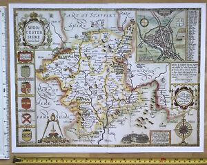 Map Of England 1600.Details About Old Tudor Map Of Worcestershire England John Speed 1600 S 15 X 11 Reprint