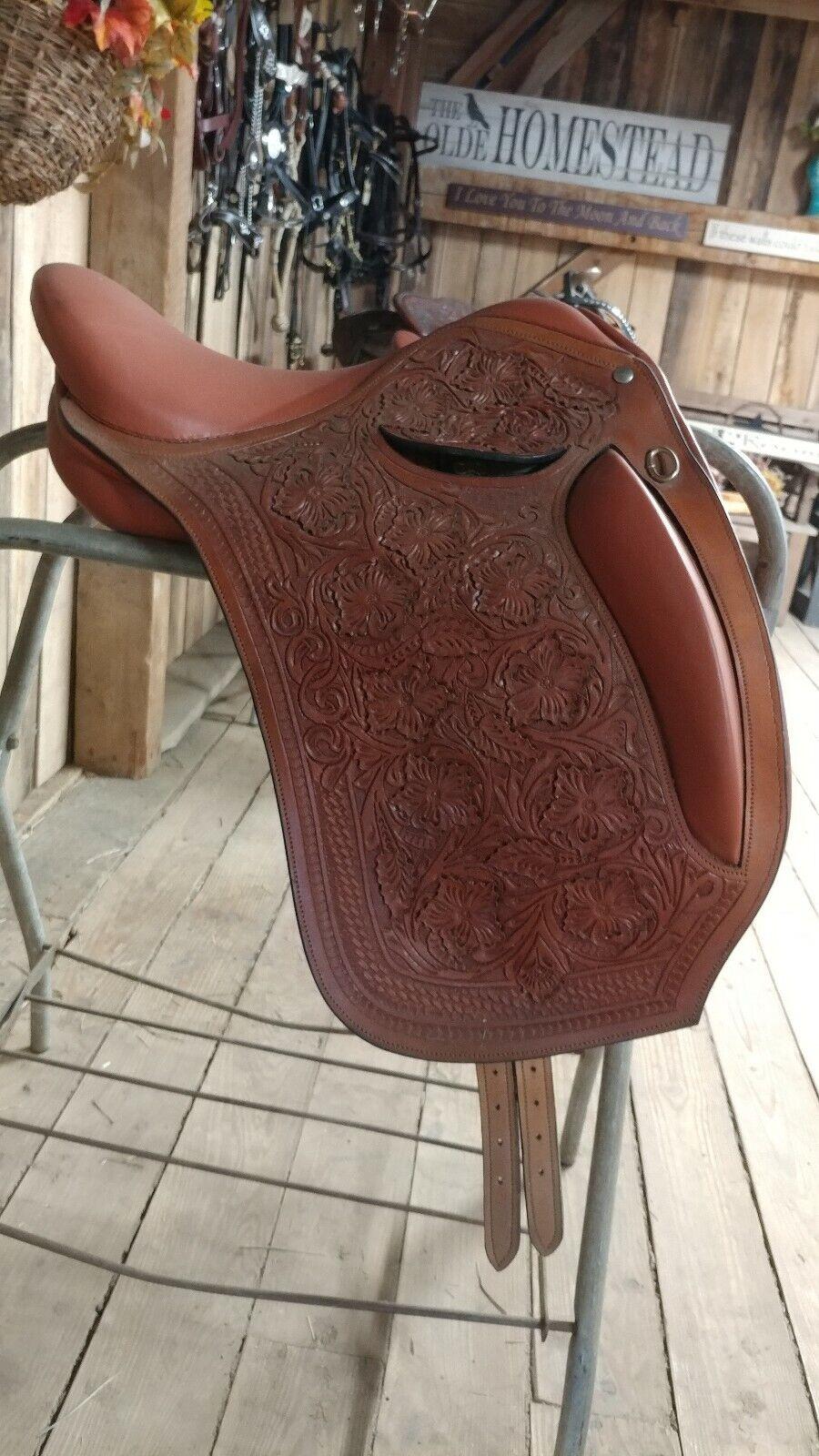 Tooled London Leather Dressage Saddle MW 17