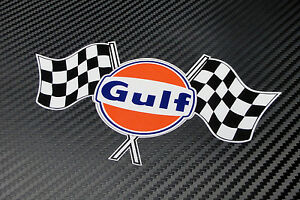 Details About Gulf Logo Twin Chequered Flag Laminated Sticker 100 Mm 4 Wide Decal Licensed