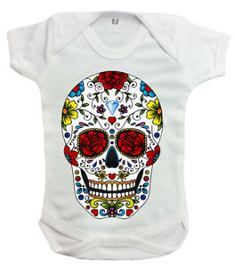 4b1a6ad2121 Candy Skull Rompers Metal Mexican Sugar Skull Rock Skeleton Unisex ...