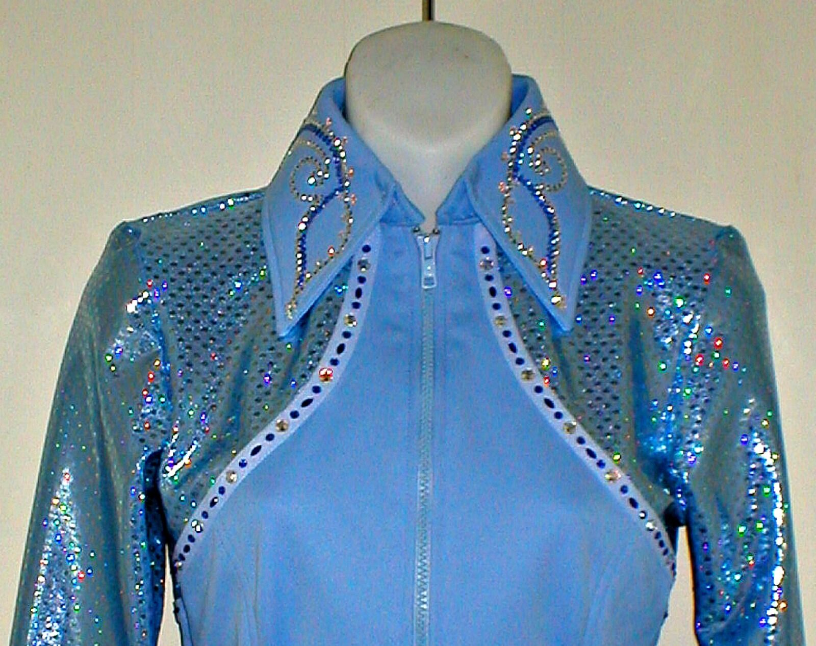 Youth Sky bluee Rail, Glamor,  Reining, Trail, Pleasure, Rodeo Shirt w cuffs  free delivery