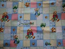 "BLUE JEAN TEDDY FABRIC cotton fabric BABY FABRIC BLANKIE BEAR PATCH 34"" new"