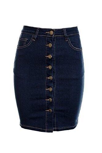 DéTerminé Femme Une Ligne Denim Boutonné Jupe Femme Denim Short Mini-jupe (cora) Avoir à La Fois La Qualité De TéNacité Et De Dureté
