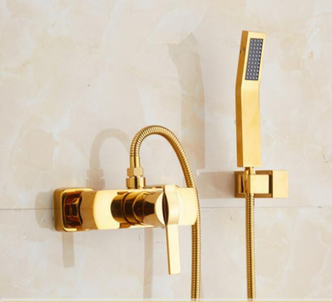 Wall Mounted plaqué or en laiton douche robinet de baignoire mitigeur robinet avec douche à main
