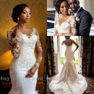 Sexy African Mermaid Wedding Dress Long Sleeves Applique Sweep Train