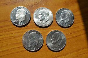LOTTO-5-MONETE-STATI-UNITI-1-DOLLARO-DOLLAR-1971-1974-ARGENTO-400-SUBALPINA-Z