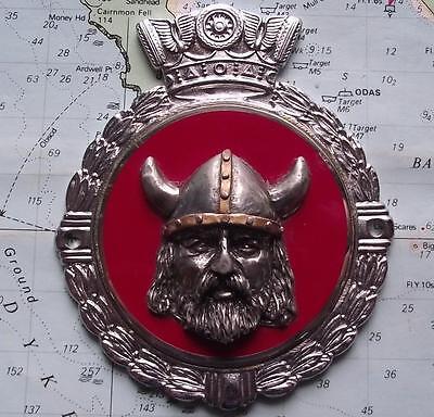 Rare Vintage Car Mascot Fantasy Badge Chrome Viking Rover Crest on Gaunt Backing