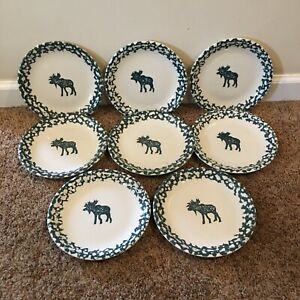 Set-Of-8-FOLK-CRAFT-Moose-Country-by-Tienshan-7-3-4-Inch-Salad-Plates