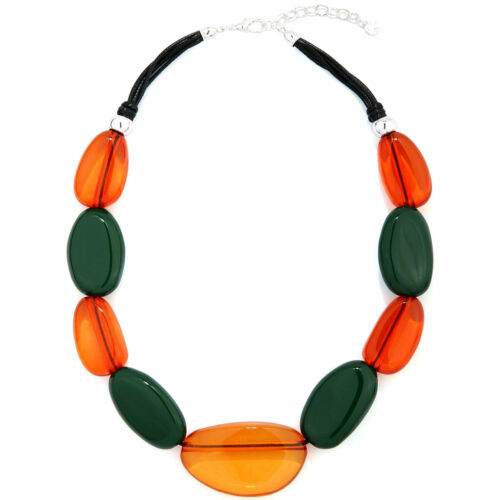 Unusual colourful large chunky acrylic pebble design choker necklace jewellery