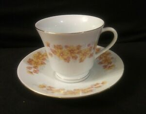 Vintage-Made-in-China-Marked-Tea-Cup-amp-Saucer-Pagoda-Mark-Yellow-amp-Pink-Flowers