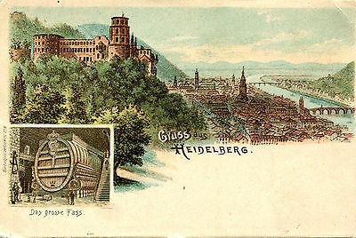 Postcard GRUSS aus HEIDELBERG Germany UDB unused castle huge wine barrel