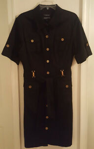 Pre-Owned-Jones-New-York-Signature-Navy-Kaki-Dress-Size-14