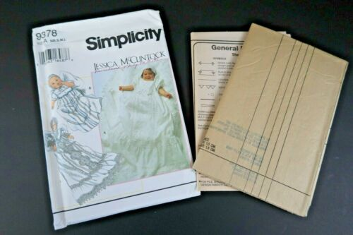Simplicity 9378 9386 Jessica McClintock Baby Christening Gown Slip Bonnet Size A